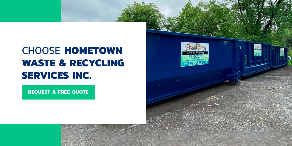 blue dumpster from Hometown Waste